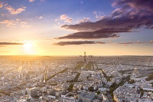Paris city at sunset