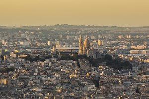 Sacre coeur in Paris at golden hour