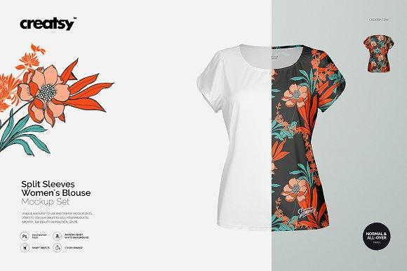 Split Sleeves Women's Blouse Mockup