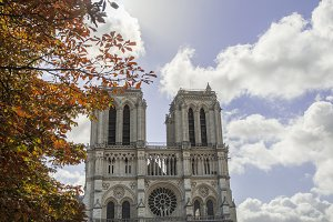 Notre Dame Cathedral on autumn