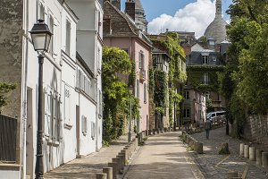 View of old street in Montmartre