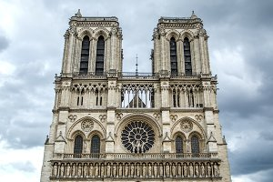 Notre-Dame Cathedral on Cloudy sky