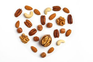 Different kinds of nuts, isolated