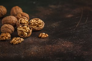 Walnut in on dark background