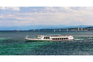 Boat on Bodensee lake between Germany, Switzerland and Austria