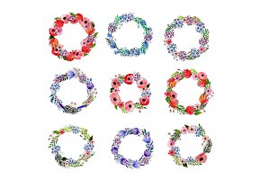 Set of nine watercolor  wreaths