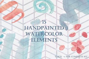 15 Watercolor Scribbles / Elements