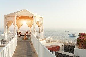 Gazebo alcove on crystal sea summer
