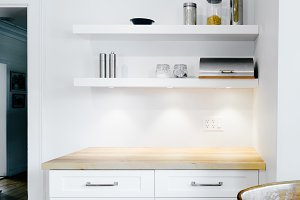 White Kitchen Wood Countertop