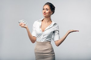 Business woman in white shirt