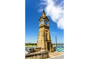 Clock tower on the riverside of Dusseldorf