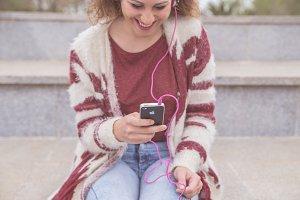 Woman enjoying music
