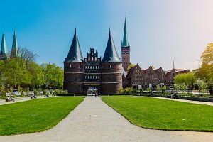 LUEBECK, GERMANY - April 29 2018: The Holsten Gate in Luebeck