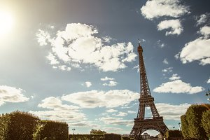 Eiffel Tower in summer on blue sky