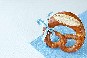 Pretzel copy space white background