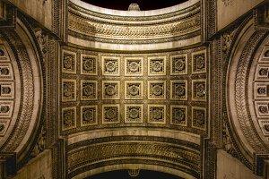 From below Arc de Triumph in Paris