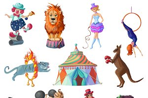 Traveling Circus Icons Set
