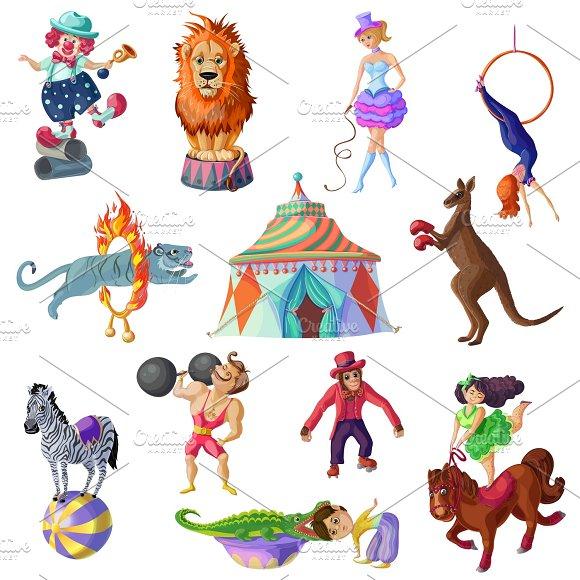 Traveling Circus Icons Set