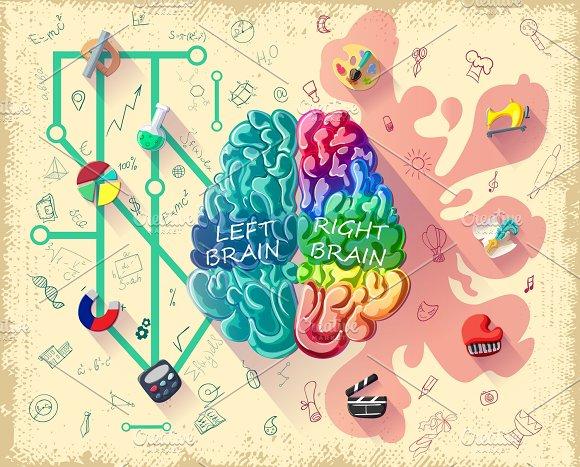 Cartoon Human Brain Diagram Concept