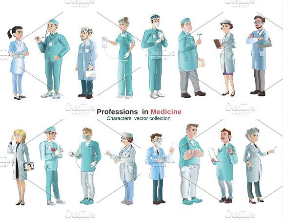 Cartoon Medical Characters Set