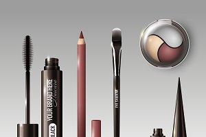 Realistic Cosmetic Tools Set