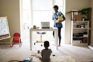 Black Mompreneur At Home Office