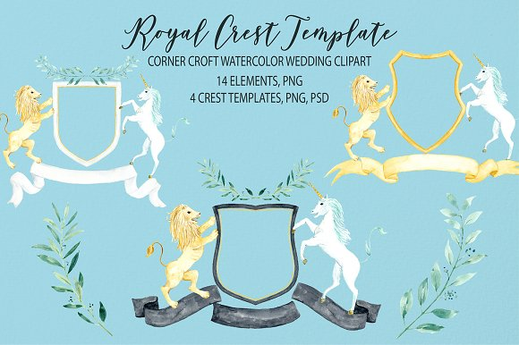 Watercolor Royal Crest Template