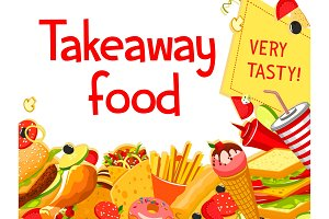Fast food restaurant menu cover with takeaway dish