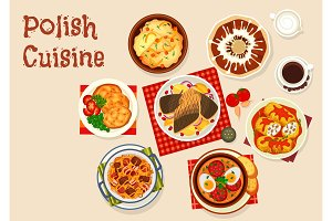 Polish cuisine icon with meat and vegetable dish