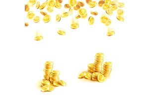 Golden rain of money and stack of gold coin poster