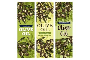 Olive oil label with green fruit and leaf sketch