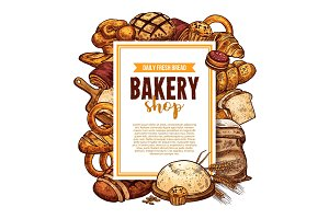 Bread and pastry sketch frame for bakery banner