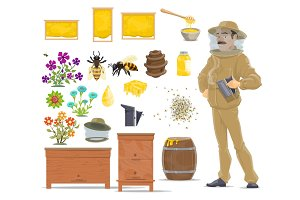 Honey bee, honeycomb, beehive and beekeeper icon