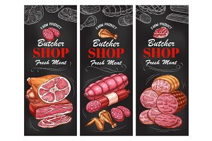 Butcher shop meat product and sausage banner