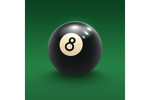 Eight pool ball on green billiard table 3d poster