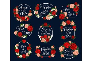Flower frame for wedding greeting card design