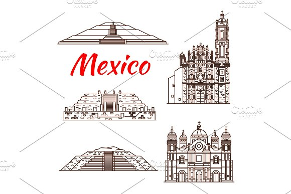 Mexican Travel Landmark Icon Of Pyramid And Church