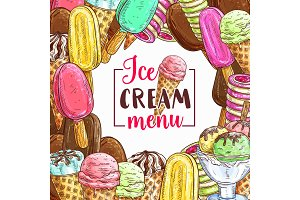 Ice cream sketch frame for cafe menu cover design