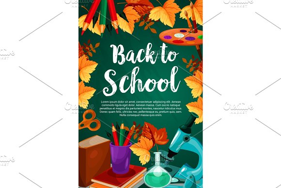 Back To School Chalkboard Stationery Vector Poster
