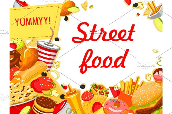 Fast Food Banner With Burger Drink And Dessert