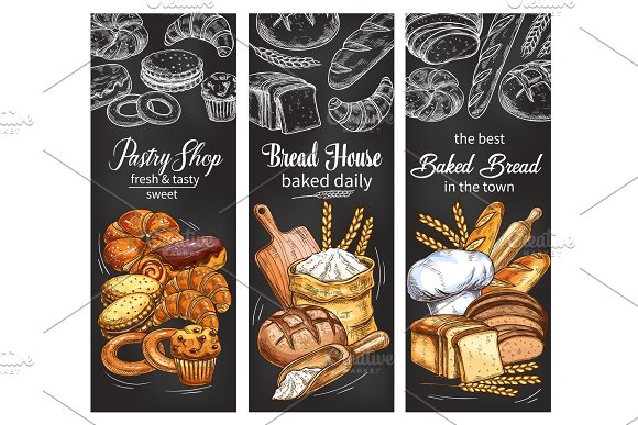 Bakery And Pastry Shop Banner With Bread And Bun