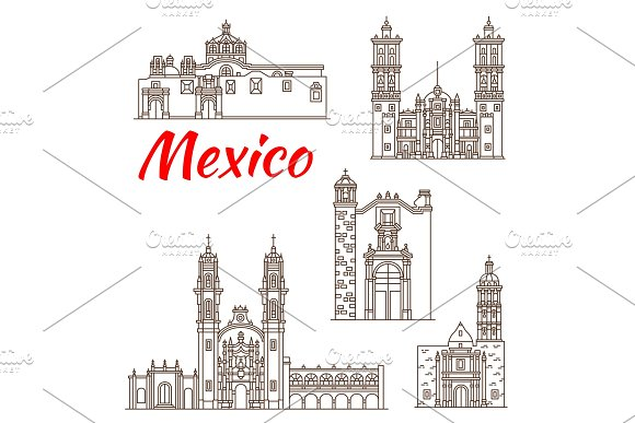 Travel Landmark Of Mexican Architecture Icon