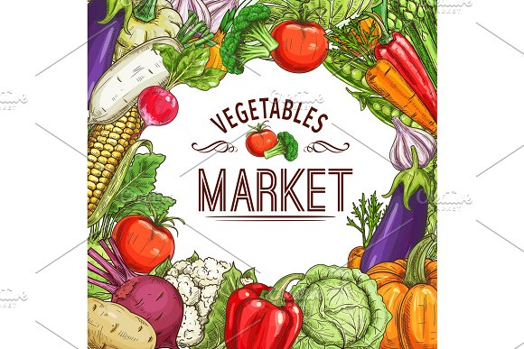 Vegetable Market Poster With Frame