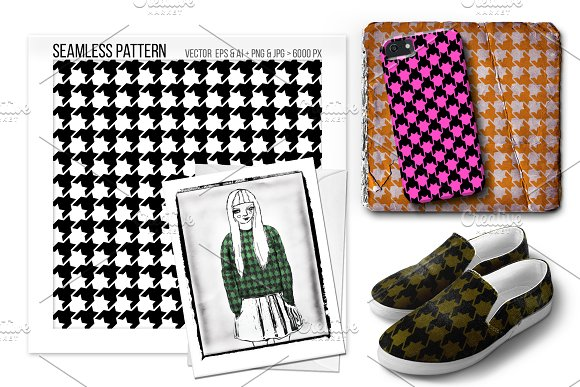 Seamless Houndstooth Vector Pattern