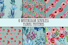 Set of six floral patterns