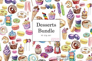 Dessert bundle watercolor clipart
