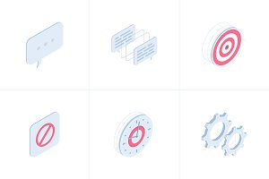 Business isometric icon set.