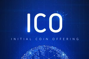 ICO initial coin offering futuristic hud banner with globe in a