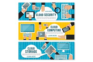 Cloud computing, data storage and security banner