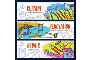 Repair work banner with construction tool sketch